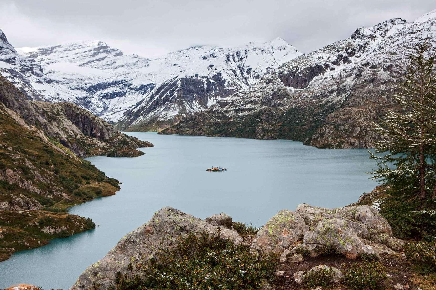 Lac du Emosson mit Mont Ruan, Tour Salliere und Les Ottans