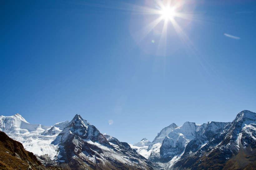 Roc de la Vache - Blick nach Süden. Val d'Anniviers, Zinalrothorn, Blanc de Moming, Besso, Pointe de Zinal, Dent Blanche, Grand Cornier