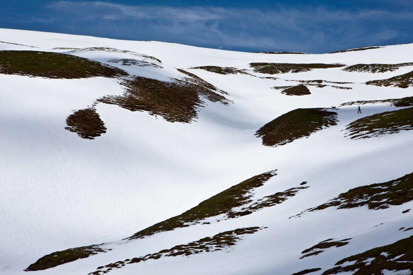 Alp Oberu - Galm - Horlini: Aufstieg zum Horlini über Schneefelder