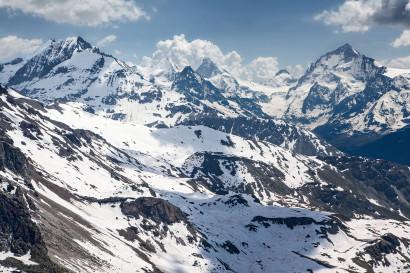 Les Diablons, Obergabelhorn, Matterhorn, Pointe de Zinal, Dent Blanche, Grand Cornier, Val d´Anniviers, Wallis