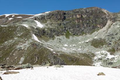 Südseite Le Toûno (Gipfel Bildmitte), Val d´Anniviers