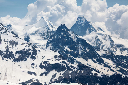 Le Toûno - Panorama: Blanc de Moming, Wellenkuppe, Obergabelhorn, Besso, Matterhorn, Mont Durand