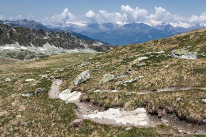 Tignousa - Le Toûno - Blick zurück: Pointes de Nava, Val d´Anniviers, Arpelistock, Wildhorn