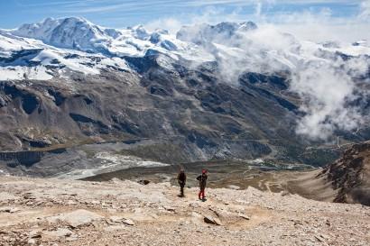 Anstieg zum Oberrothorn; Panorama nach Süden: Grenzgletscher, Liskamm, Castor, Pollux, Breithorn