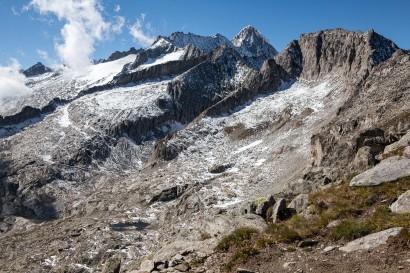 Panorama im Anstieg zum Sparrhorn: Unterbächhorn, Nesthorn, Hülsenhorn, Wallis, Schweiz, Valais, Switzerland