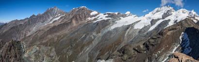 Panorama Ober Rothorn Nord/Ost: Dürrenhorn, Hohberghorn, Dom, Täschhorn, Alphubel, Feechopf, Allalinhorn, Rimpfischhorn, Strahlhorn, Fluehorn, Adlerhorn
