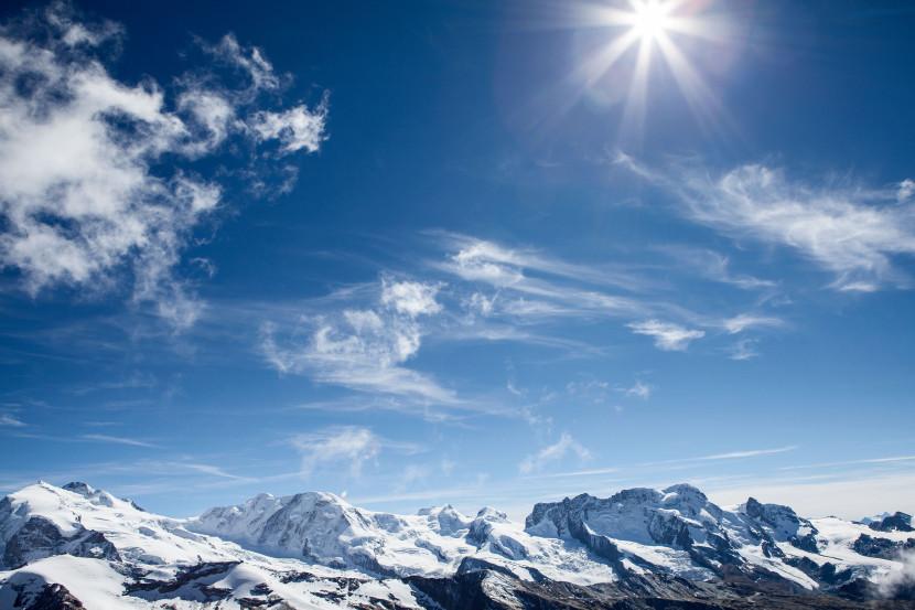 Panorama Süd: Nordend, Monte Rosa Dufourspitze, Liskamm Ost-/Westgipfel, Castor, Pollux, Breithorn, Gornergrat, Klein Matterhorn