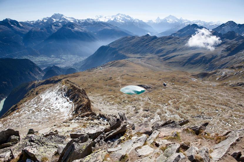 Sparrhorn 3021 m - Blick nach Süden: Fletschhorn, Monte Rosa Dufourspitze, Dom, Breithorn West, Matterhorn, Weisshorn, Dent Blanche, Grand Combin de Grafeneire, Grisighorn