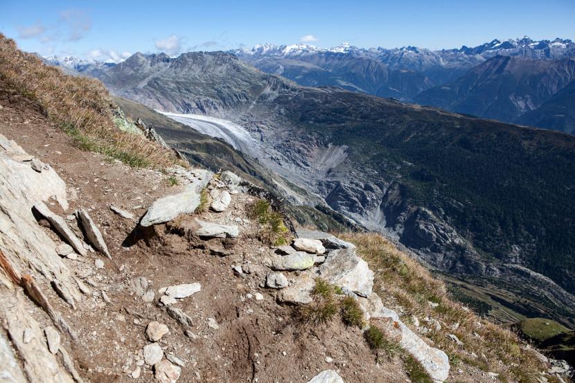 Wanderweg Belalp - Sparrhorn, Tiefblick auf den Aletschgletscher, Eggishorn, Bettmerhorn.