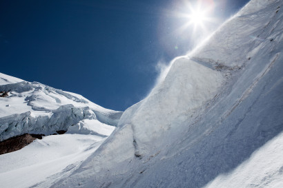 Weissmies (4017 m), Triftgletscher, Nordwestflanke, Triftgrat, Seracs
