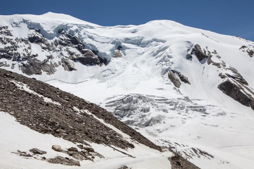 Weissmies (4017 m) von Hohsaas (Nordseite), Westgipfel, Triftgletscher, Seracs, Nordwestflanke, Triftgrat